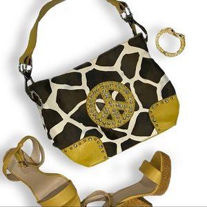Handbags - Faux leather giraffe print satchel handbag